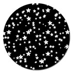 Black And White Starry Pattern Magnet 5  (Round)