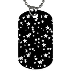 Black And White Starry Pattern Dog Tag (two Sides)