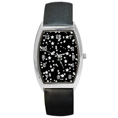 Black And White Starry Pattern Barrel Style Metal Watch by DanaeStudio