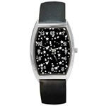 Black And White Starry Pattern Barrel Style Metal Watch