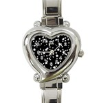 Black And White Starry Pattern Heart Italian Charm Watch