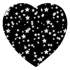 Black And White Starry Pattern Jigsaw Puzzle (heart) by DanaeStudio