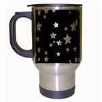 Black And White Starry Pattern Travel Mug (Silver Gray) Left