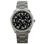 Black And White Starry Pattern Sport Metal Watch