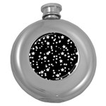Black And White Starry Pattern Round Hip Flask (5 oz) Front