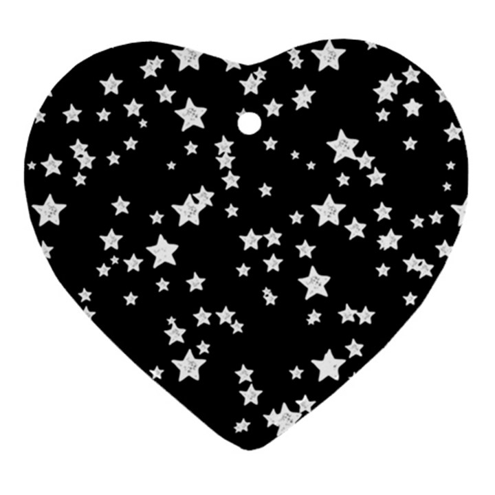 Black And White Starry Pattern Heart Ornament (2 Sides)