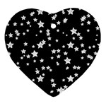 Black And White Starry Pattern Heart Ornament (2 Sides) Back