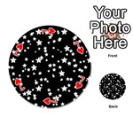 Black And White Starry Pattern Playing Cards 54 (Round)  Front - Heart7