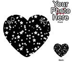 Black And White Starry Pattern Playing Cards 54 (Heart)  Front - SpadeA