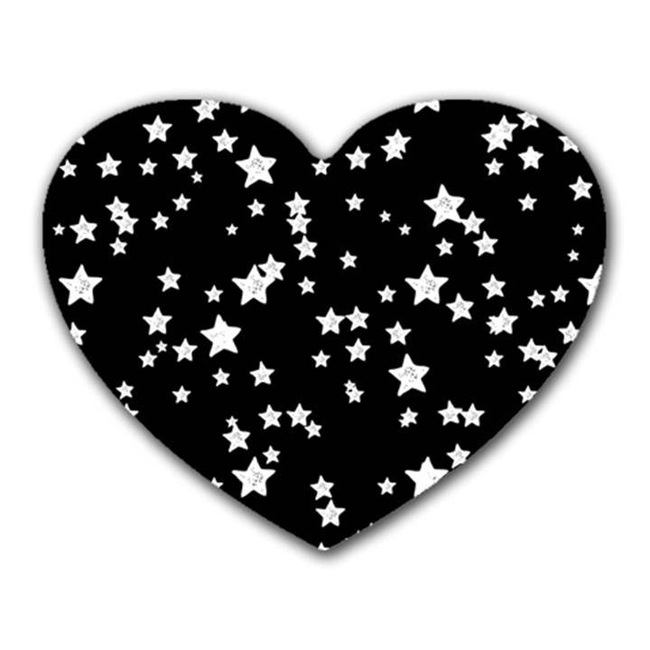 Black And White Starry Pattern Heart Mousepads