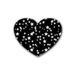 Black And White Starry Pattern Rubber Coaster (heart)  by DanaeStudio