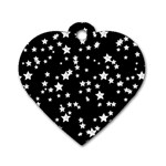 Black And White Starry Pattern Dog Tag Heart (Two Sides) Back