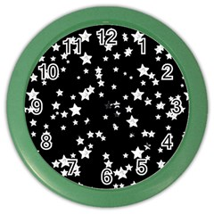 Black And White Starry Pattern Color Wall Clocks by DanaeStudio
