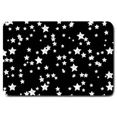 Black And White Starry Pattern Large Doormat  by DanaeStudio