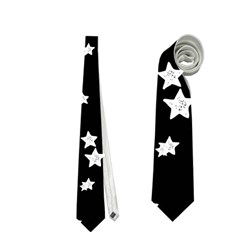 Black And White Starry Pattern Neckties (two Side)  by DanaeStudio