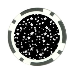 Black And White Starry Pattern Poker Chip Card Guards by DanaeStudio