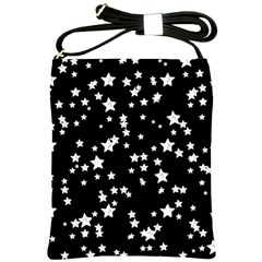 Black And White Starry Pattern Shoulder Sling Bags by DanaeStudio