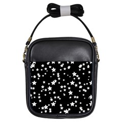 Black And White Starry Pattern Girls Sling Bags by DanaeStudio