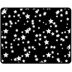 Black And White Starry Pattern Fleece Blanket (Medium)