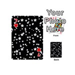 Black And White Starry Pattern Playing Cards 54 (Mini)  Front - Heart7