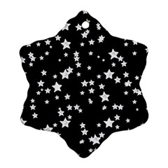 Black And White Starry Pattern Snowflake Ornament (2 Side)