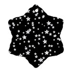 Black And White Starry Pattern Snowflake Ornament (2-Side) Front