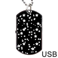 Black And White Starry Pattern Dog Tag Usb Flash (one Side) by DanaeStudio