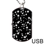 Black And White Starry Pattern Dog Tag USB Flash (One Side) Front