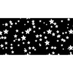 Black And White Starry Pattern Twin Hearts 3D Greeting Card (8x4) Front