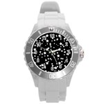 Black And White Starry Pattern Round Plastic Sport Watch (L)