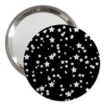 Black And White Starry Pattern 3  Handbag Mirrors Front