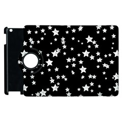 Black And White Starry Pattern Apple Ipad 2 Flip 360 Case by DanaeStudio