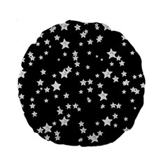 Black And White Starry Pattern Standard 15  Premium Round Cushions