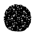 Black And White Starry Pattern Standard 15  Premium Round Cushions Back