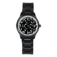 Black And White Starry Pattern Stainless Steel Round Watch by DanaeStudio