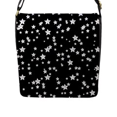 Black And White Starry Pattern Flap Messenger Bag (l)  by DanaeStudio