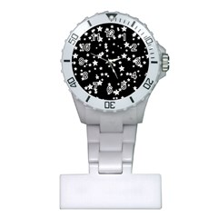 Black And White Starry Pattern Plastic Nurses Watch by DanaeStudio