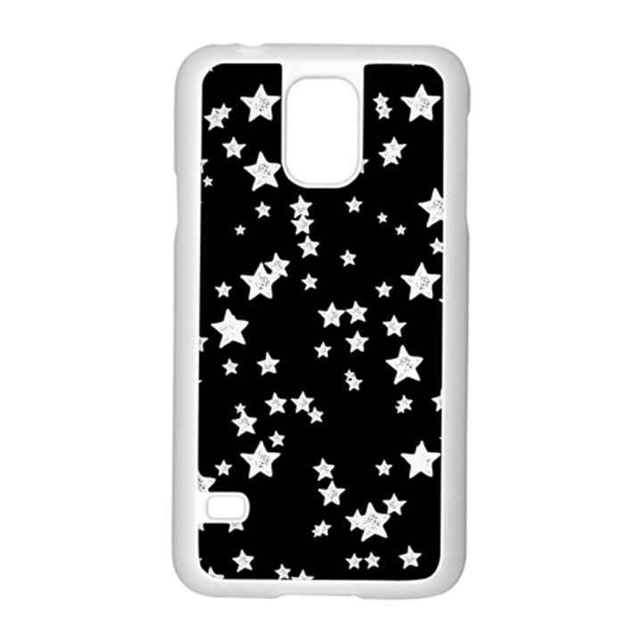 Black And White Starry Pattern Samsung Galaxy S5 Case (White)