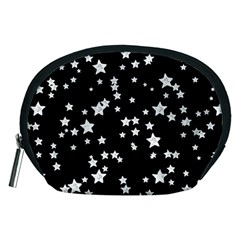 Black And White Starry Pattern Accessory Pouches (medium)