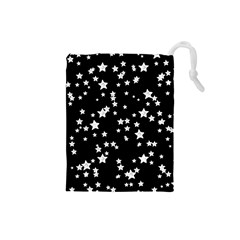 Black And White Starry Pattern Drawstring Pouches (small)  by DanaeStudio