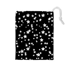 Black And White Starry Pattern Drawstring Pouches (large)  by DanaeStudio