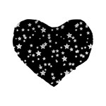 Black And White Starry Pattern Standard 16  Premium Flano Heart Shape Cushions