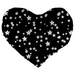 Black And White Starry Pattern Large 19  Premium Flano Heart Shape Cushions