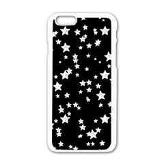 Black And White Starry Pattern Apple Iphone 6/6s White Enamel Case by DanaeStudio