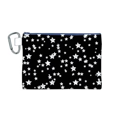 Black And White Starry Pattern Canvas Cosmetic Bag (m) by DanaeStudio