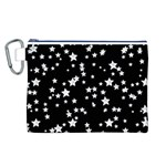 Black And White Starry Pattern Canvas Cosmetic Bag (L)