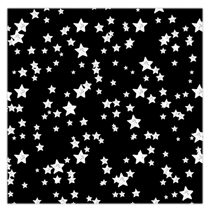 Black And White Starry Pattern Large Satin Scarf (Square)