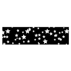 Black And White Starry Pattern Satin Scarf (oblong) by DanaeStudio