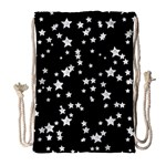 Black And White Starry Pattern Drawstring Bag (Large)