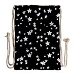 Black And White Starry Pattern Drawstring Bag (Large) Back